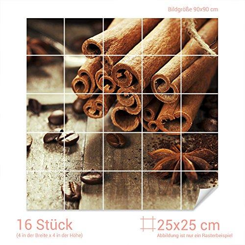 Graz Design 765281_25x25_90 Fliesenaufkleber Anis/Zimt/Kaffeebohnen | Küchen-Fliesen mit Folie...