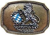 Fronhofer Trachten Gürtelschnalle Bayern Messing Buckle 40 mm, 4 cm Bayerisches Wappen Löwe Schnalle,18208, Größe:One Size, Farbe:Messing