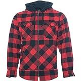 ROCK-IT Apparel® Camisa de Franela de Manga Larga de Hombre a Cuadros con Capucha Camisa de leñador Camisa de Cuadros Camisa