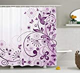 LZHsunni88 Mauve Decor Shower Curtain by, Curved Flower Leaf Ornate Blooming Branches Romantic Love Figures Artsy Print, Fabric Bathroom Decor Set with Hooks, 75 inches Long, Violet Lilac