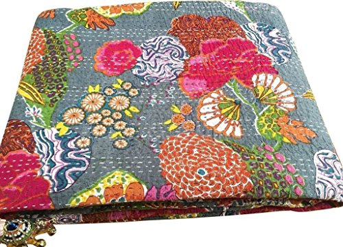 Sophia Art - Couvre-Lit Indien Kantha en Coton Fait Main Motif Fruit Tropical - Gris