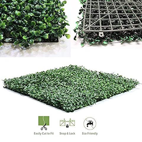 Artificial Boxwood Hedge Fence Screen Greenery Panels Indoor/Outdoor Privacy Fence Screen Greenery Mat 6pcs