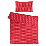 Sugarapple Kinderbettwäsche, 2 tlg. Set mit Deckenbezug 135x200 cm und Kissenbezug 80x80 cm, 100% Baumwolle mit Reißverschluss, rot mit weißen Punkten