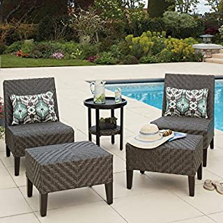 Agio Fairmont Garden Dining Set for Outdoors 5 Piece Set Chairs Woven Design Table Ottomans with Cushions