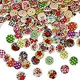 Febbya Bottoni Legno,100 Pezzi Colorati Bottoni Rotondi Bottone Bambini per Cucito E L'artigianato Decorazione Diametro 15mm