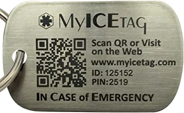 MyICETag Engravable Steel Smart Dog Tag To Protect Your Pet From Getting Lost with Batteries and Web/GPS Enabled