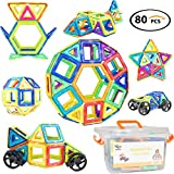 Magnetic Blocks - 80 PCS ALL With Magnets + Car Wheels + Plastic Storage Box - Strong Magnet - Large Building Block Set - STEM Learning Resources - 3D Color Toys - Best For Toddlers, Kids, Boys, Girls
