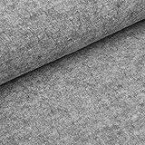 Fabian - Kochwolle / Strickloden - hochwertiger Wollstoff aus 100% Schurwolle (per Meter, grau-melange)