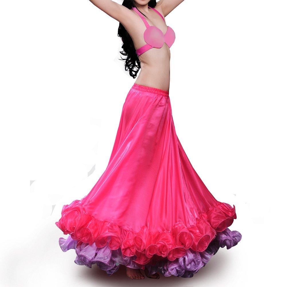 ROYAL SMEELA Gonna per abbigliamento da danza del ventre per le donne Vestito da ballo Carnival Professional Danza Maxi gonna Abbagliante bicolore Gonne ampie a battente