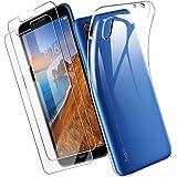 Yoowei Funda Compatible con Xiaomi Redmi 7A +[2-Pack] Cristal Templado, Transparente Suave Delgado TPU Silicona Carcasa con 2