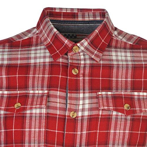 Pepe Jeans Uomo Yucon Camicia Manica Lunga Cotone Casual Camicetta Abbigliamento Rosso