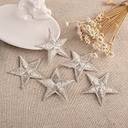 10 Ornamenti Patches Applicazioni, Applique, Toppe termoadesive in tessuto ricamato a forma STELLA, da cucire, stirare, ricamare (Argento)