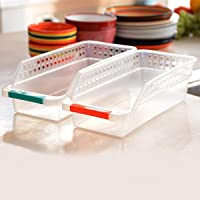 INOVERA (LABEL) Plastic Fridge Space Saver Food Storage Organizer Basket Rack, Multi-Color (Set-2)