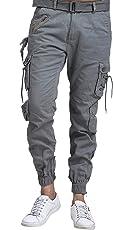 Vbirds Men's Cotton Relaxed Fit Light Grey Zipper DORI Cargo Jogger Pants
