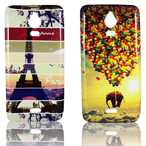 Wiko Wax Silikon-Hülle 2x Set Paris + Elefant
