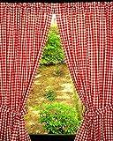 rot- weiß kariertes Gardinenset 2 Schals mit ***Stickerei***