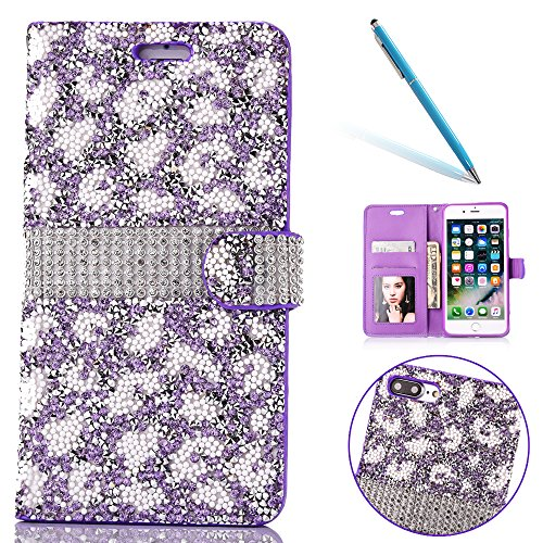 "Cover pour Apple iPhone 7Plus 5.5""(NON iPhone 7 4.7""), CLTPY Mignon Paillette Flash Diamond Motif Style Design avec Magnetique et Fente de Carte Full Body Wrap Back Cover Case Couvrir pour iPhone 7Plu Purple"