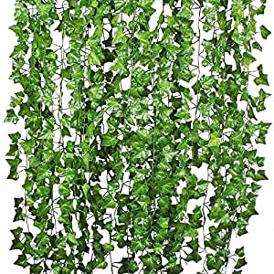 Sk Handloom Udyog SkH Artificial Ivy Garlands Leaves Greenery Hanging Vine Creeper Plants Bunch for Home Decor maindoor Wall Door Balcony Office Decoration Photos Party Festival Craft -Each 6.7 ft (6 Pcs)