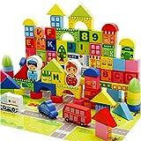 Etbotu 160 stücke Kinder Holzbausteine ??Stadtverkehr Szene Bildung Lernspielzeug Kinder Geschenke