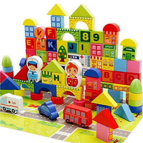 Elegante Bausteine für Kleinkinder, Kinder, Holzbausteine, Stadtverkehrsszene, Lernspielzeug, Kinder, Halloween-Taschen für Kinder, 160 Stück