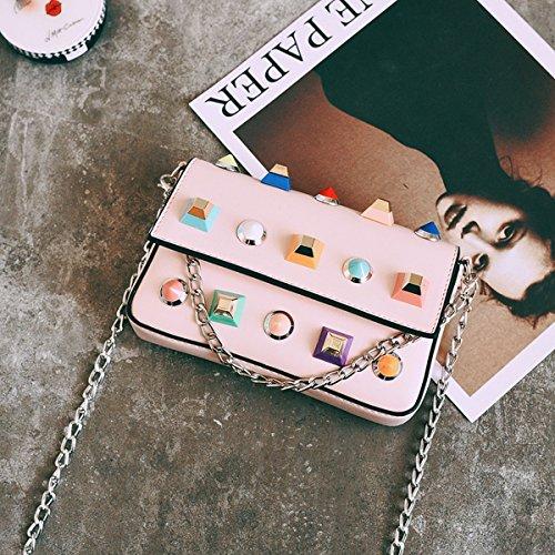 Weibliche nieten Kette kleine quadratische paket mode Schulter diagonale paket tasche Rosa