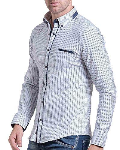 BLZ jeans - chic weißes Hemd gemustert Mann Weiß