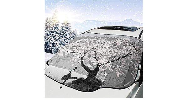 Hiram Cotton Car Sunshade Kirschbl/üten-Windschutzscheiben-Sonnenschutz F/ür Auto-Faltbarer Uvstrahl-Reflektor-Selbstfrontscheiben-Sonnenschutz-Visier-Schild-Abdeckung H/ält Fahrzeug K/ühl