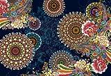 Fototapete CORRO 368x254 buntes Blumenmuster, bunte Blumen auf schwarzem Grund