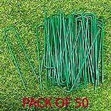 Fineway Heavy Duty set di 50picchetti a U verde erba artificiale TURF metallo zincato pioli Staples Weed hooks- perfetto per fissare tende, Ground fogli, verande, obiettivo reti e stagno reti