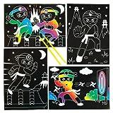Baker Ross Kratzbilder Ninja für Kinder zum Gestalten, Herstellen und Aufstellen – Kreatives Bilder-Bastelset für Kinder (6 Stück)