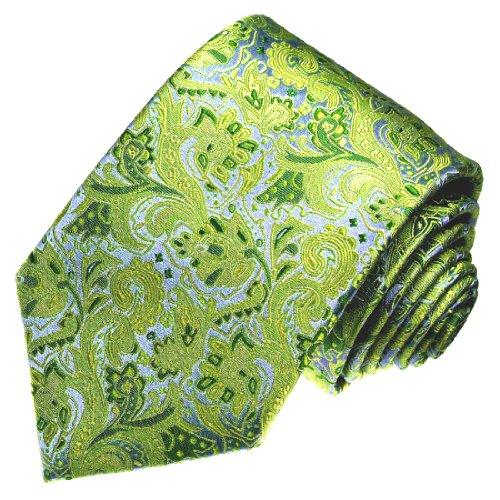 Lorenzo Cana Marken Krawatte 100% Seide jacquard gewebt grün blau hellgrün gelbgrün grünblau Floral Blumen Ranken 25013 -