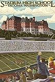Tacoma, Washington–Stade High School 16 x 24 Signed Art Print multicolore