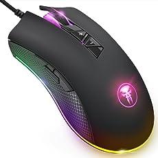 Wired Gaming Maus, FNOVA RGB Gamer Mouse mit 8 Programmierbaren Tasten, 4000 DPI Einstellung, Ergonomisches Professionelle Optische USB Maus, Hohen Präzision LED Mäuse für PC Mac Laptop Office Home