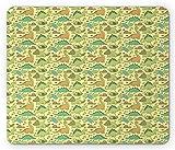 Dinosaurier Party Maus Pad von, Doodle Stil Funny archaische Monsters Fantastische Kinderzimmer Spielzimmer Design, Standard Größe Rechteck rutschfeste Gummi Mauspad, multicolor