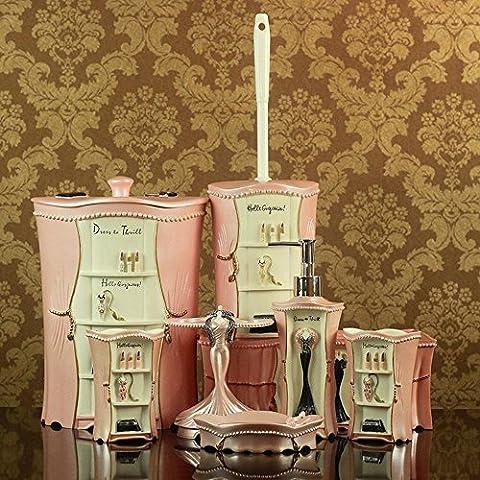 BBSLT Lavar la resina moderno europeo conjunto en rosa bonito baño Suite 8