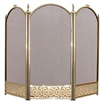 Fire Vida Ingleton Fire Screen/Spark Fire Guard, Metal, Brass