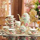 Europea plato de porcelana taza Inglés juego de té de la tarde tazas de café 15cabeza
