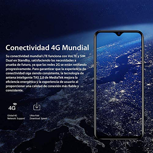 Blackview A60 pro (2019) 4G Mobile Phone, Android 9.0 6.1 Waterdrop Screen Dual SIM Smartphone, Helio A22 Quad-Core 2.0GHz 3GB + 16GB, 4080mAh Battery, Face ID Unlock Blue Img 4 Zoom