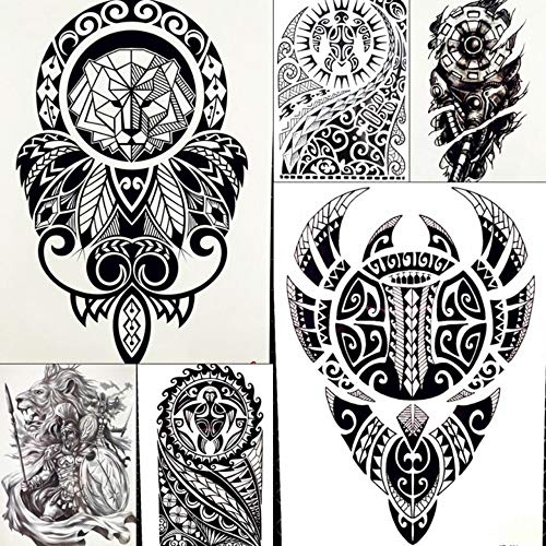 Lion King Warrior Temporäre Tätowierung Aufkleber Männer Roboter Arm Gefälschte Wasserdichte Maori Tattoos Body Art Schwarz Totem Tatoo Papier 21X15 - Warrior King Kostüm Kind