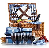 VonShef - 4 Person Wicker Picnic Basket Hamper Set with cutlery, plates, wine glasses and picnic blanket included - blue checked pattern lining