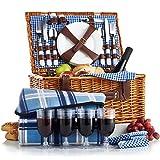 VonShef Panier pique-nique en osier 4 personnes (avec couverts, assiettes et verres à vin) - Vichy bleu