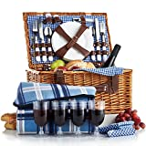 VonShef – 4 Person Wicker Picnic Basket Hamper Set with cutlery, plates, wine glasses and picnic blanket included – blue checked pattern lining