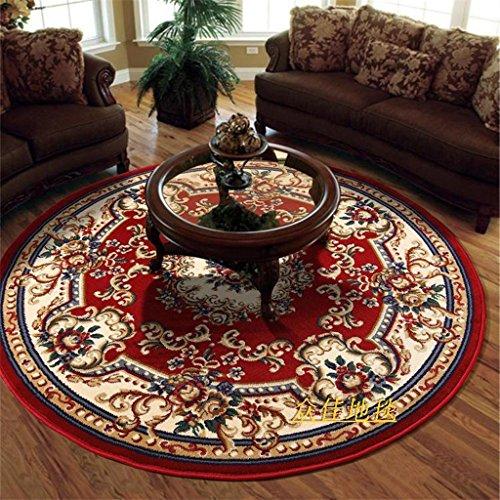&tapis de salon Tapis rond style Western tapis canapé salon chambre table basse ordinateur pivotant tapis couvertures (Couleur : A, taille : Round- 120cm)