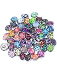 Soleebee Click-Button Aluminium Verre 12mm Pression Boutons Femme Un Groupe DE 30 - anacardier-Fleur
