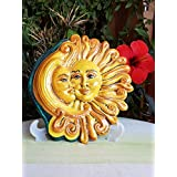 Medaglione Sole e Luna in ceramica. Abbraccio sole /luna in ceramica. Regalo. Le ceramiche di Ketty Messina.
