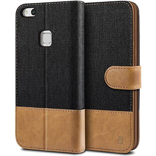 BEZ® Hülle für Huawei P10 Lite Hülle, Handyhülle Kompatibel für Huawei P10 Lite, Handytasche Schutzhülle Tasche Case [Stoff und PU Leder] mit Kreditkartenhaltern, Schwarz