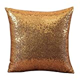 Indexp Glitter Sequins Solid Color Pillowcase Home Decor Sofa Cushion Cover (Yellow/45x45cm)