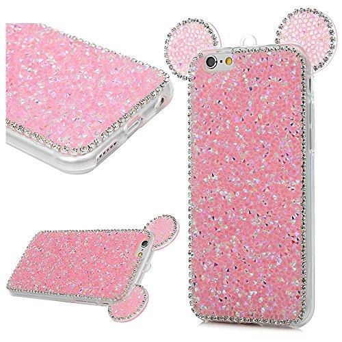 MAXFE.CO Schutzhülle Tasche Case für iPhone 6 6S TPU Silikon Cover mit Diamanten Etui Protective Schale Bumper Schwarz Blau