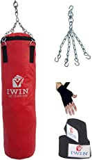 IWIN Unfilled Synthetic Leather Red Punching Bag Combo with Chain and Best Quality Hand Wraps