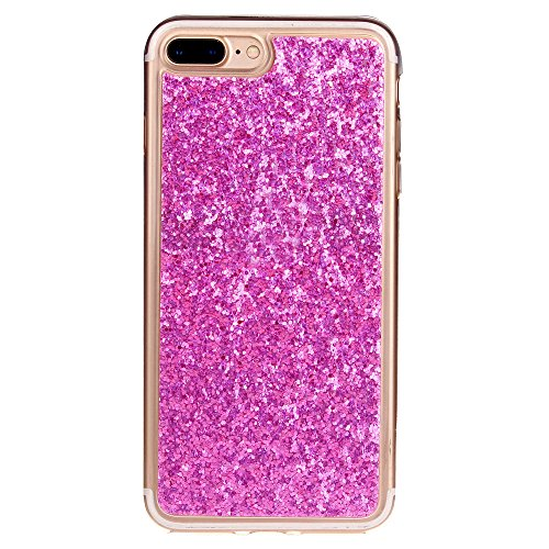 Cuitan TPU Glitter Housse Case pour Apple iPhone 7 (4,7 Inch), Bling Shiny Retour Housse Back Cover Protecteur Etui Coque Cover Shell pour iPhone 7 (4,7 Inch) - Rose Rouge Rose Rouge